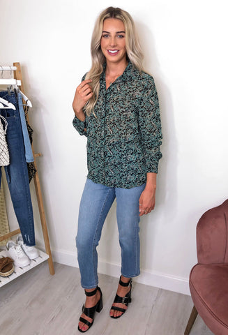 Ichi Izzie Ditsy Floral Blouse - Green