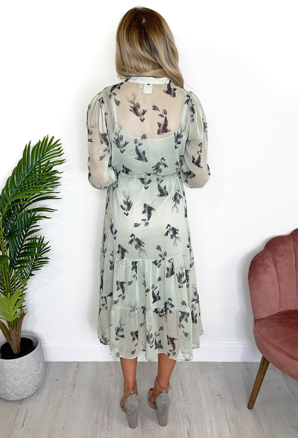 ICHI Celeste Long Sleeve Fish Midi Dress