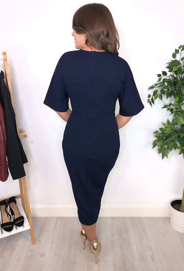 Kaye Ruched Dress - Navy