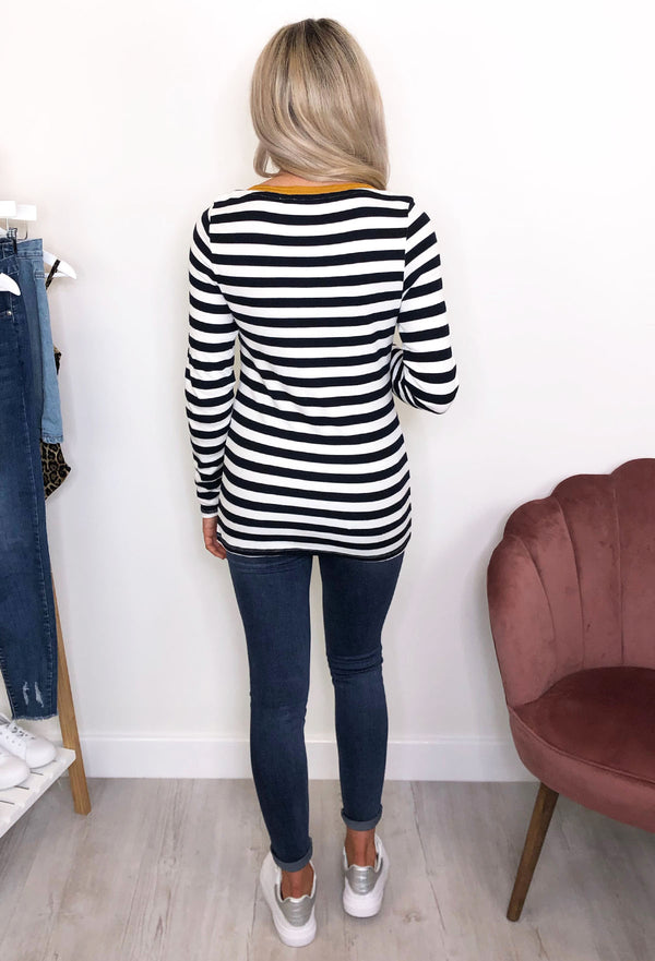 Fransa Breton Navy & White Striped Top