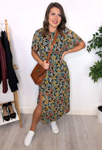 Vanessa Angel Sleeve Midi Dress - Floral