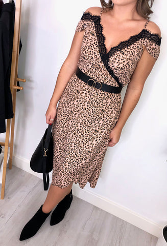 Jordyn Leopard Lace Dress - Pink