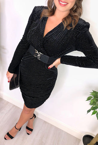 Kirsty Black and Silver Spot Wrap Mini Dress