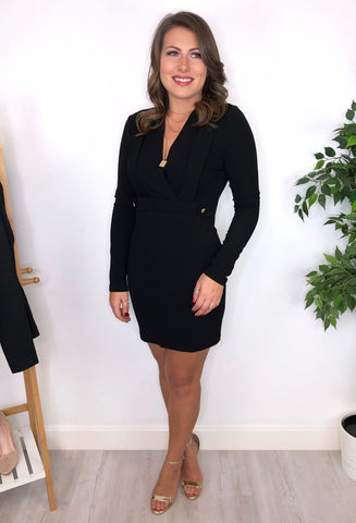 Jo V Neck Long Sleeve Dress - Black