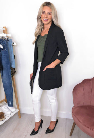 Fransa Dawn Duster Jacket - Black