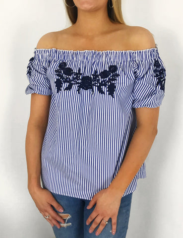 Charlotte Embroidered Bardot Top