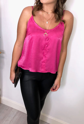 Maya Button Down Cami - Hot Pink