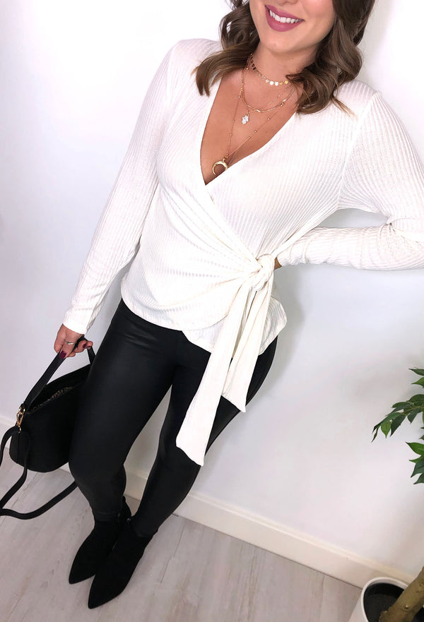 Kylie Wrap Knit Top - Cream