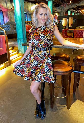 Monica Skater Dress - Leopard Print