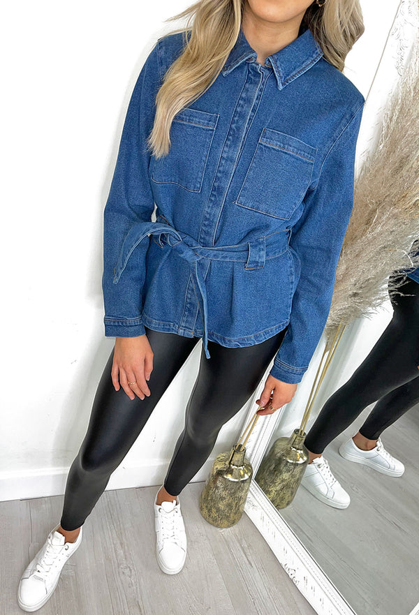 ICHI Nicole Tie Waist Denim Shacket