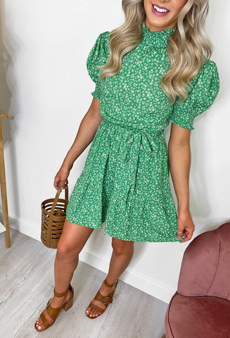Liberty High Neck Ditsy Dress - Green
