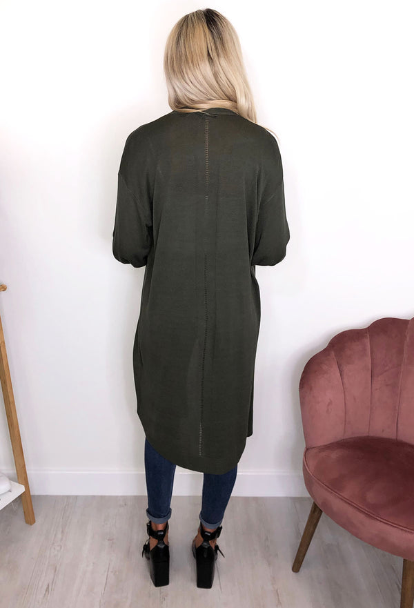 Nümph Nubia Long Line Balloon Sleeved Cardigan - Khaki