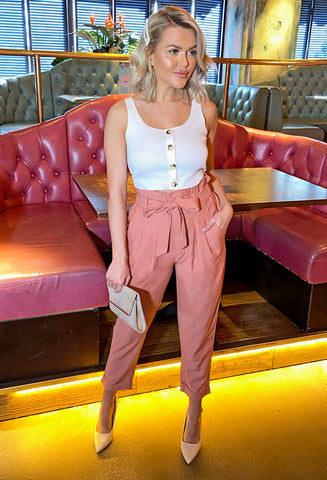 Riley Paper-Bag Waist Trousers  - Dusty Pink