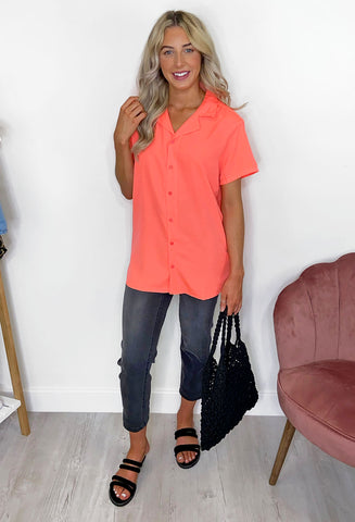 Isla Button Through Blouse - Coral