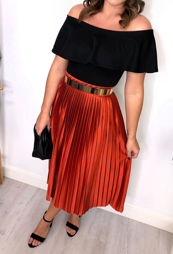Alice Pleated Skirt - Rust