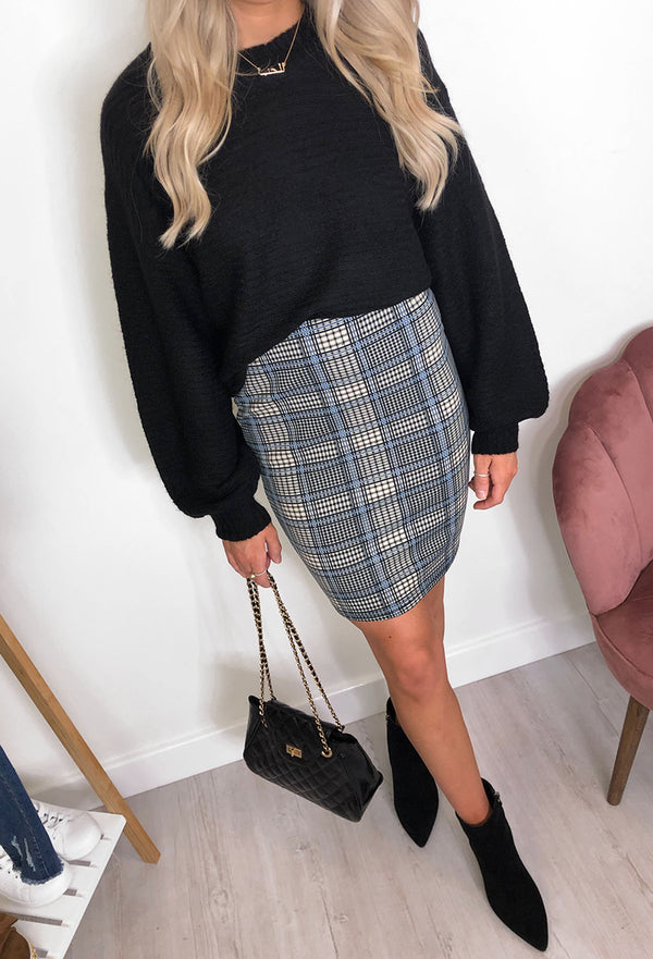 Fransa Delta Blue Check Pencil Skirt