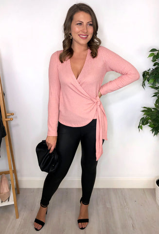 Kylie Wrap Knit Top - Pink