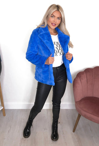 Maura Faux Fur Jacket - Blue