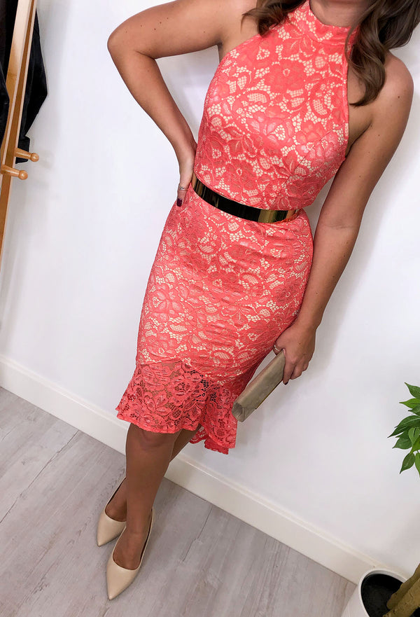 Allie High Neck Lace Coral Dress