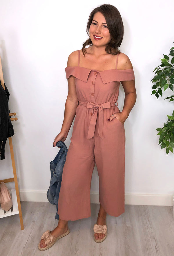 Alexandra Button Jumpsuit - Pink