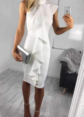 Reese Waterfall Midi Dress - White