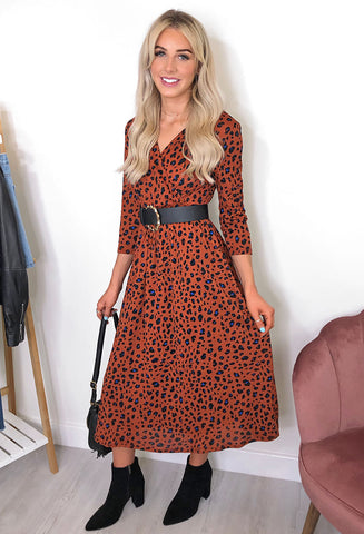 ONLY Pella Leopard Print V Neck Midi Dress - Rust