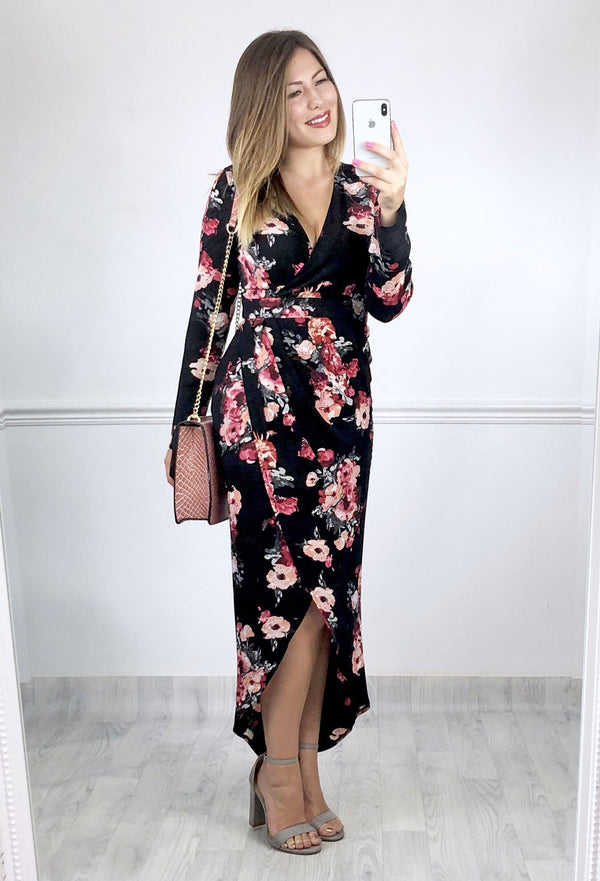 Reenie Floral Print Wrap Dress - Black/Rose