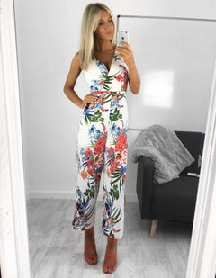 Isabella White & Coral Floral Jumpsuit