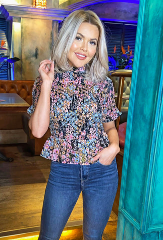 Jolene Floral Print High Neck Top