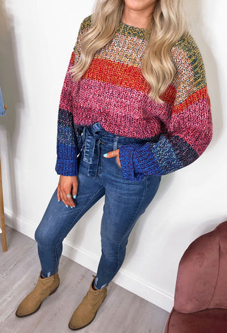 Ariel Rainbow Stripe Knitted Jumper