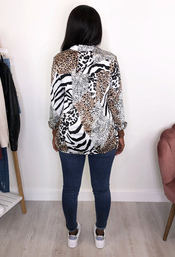 Carlie Long Sleeve Animal Print Top