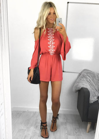 Josie Coral Cold Shoulder Playsuit
