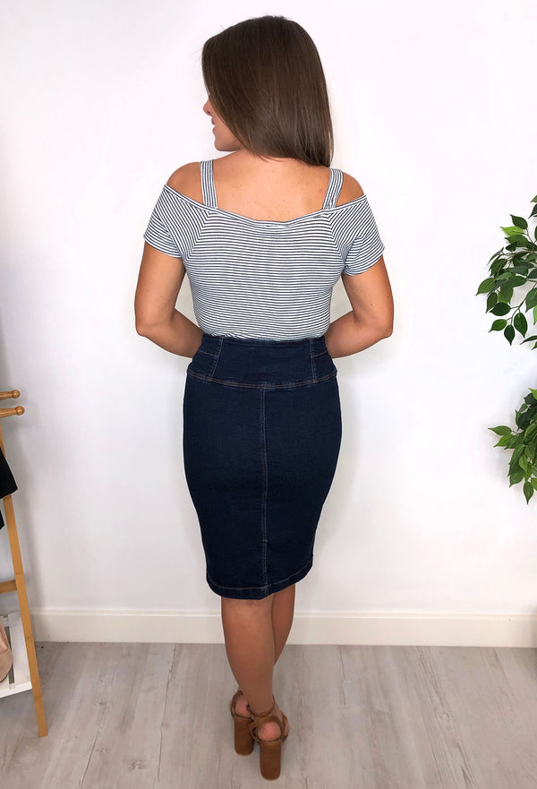 Aria Button Denim Skirt