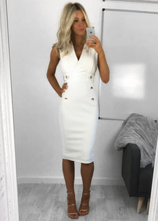 Amber Military Inspired Midi Dress - White