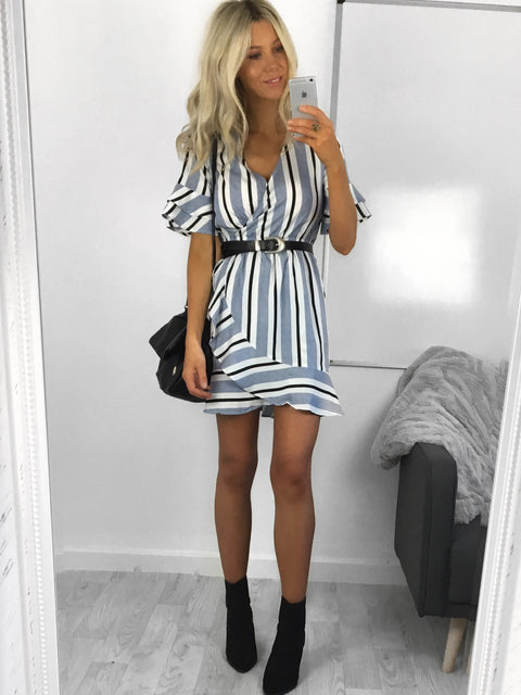 Delilah Stripe Wrap Dress