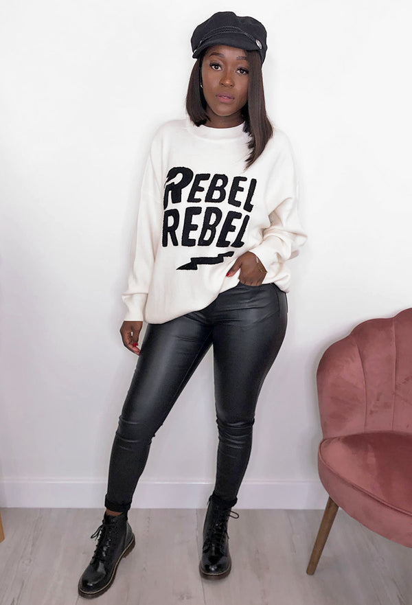 Rebel Rebel Oversized Jumper - Cream & Black