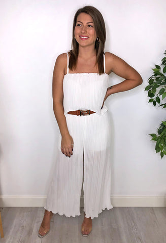 Cat Pleated Culotte Jumpsuit - White