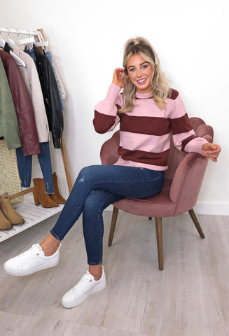 Ichi Heden Soft Knit Striped Jumper - Pink