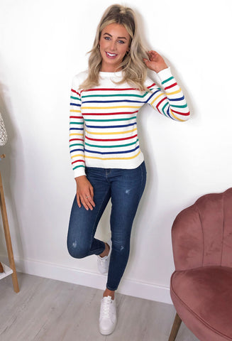 Brave Soul Rainbow Crew Neck Jumper