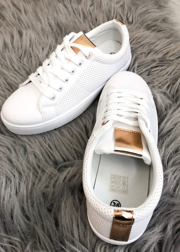 Dove White Trainers - Rose Gold