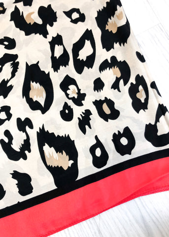 Betty Leopard Coral Print Scarf