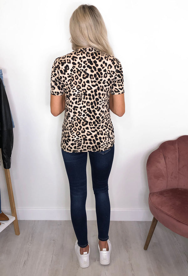 b.young Sanni High Neck Leopard Print Top
