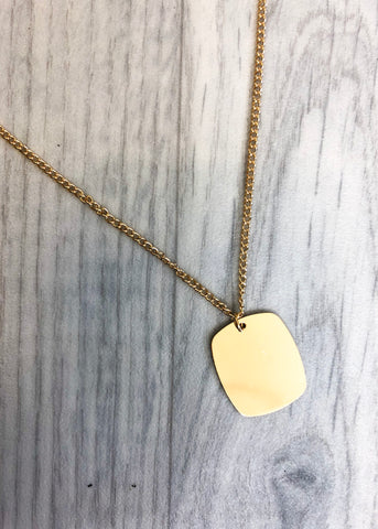 Dog Tag Gold Necklace