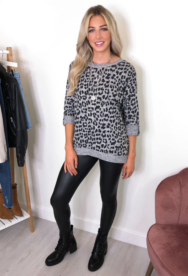 b.young Stelly Leopard Print Top - Grey