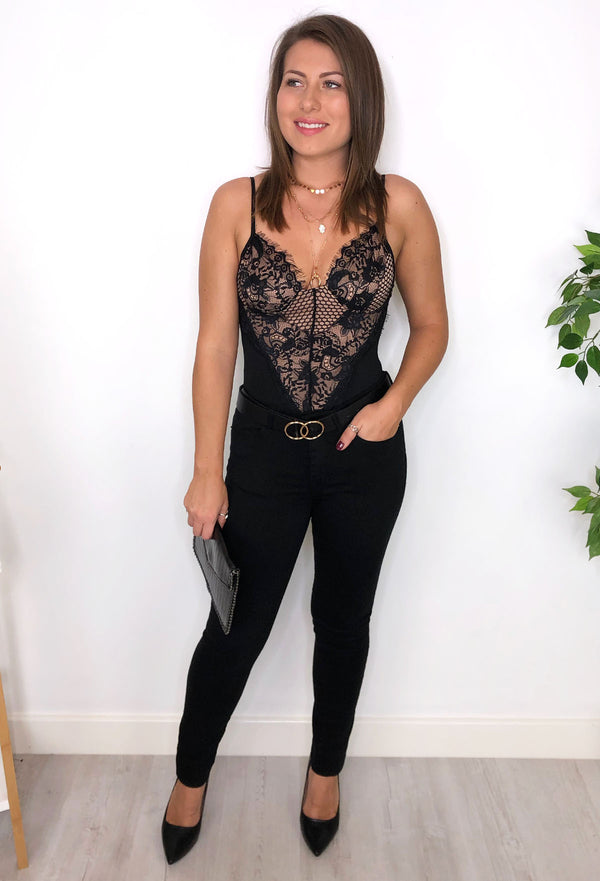 Bella Lace Bodysuit - Black