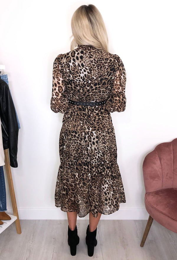 Abba High Neck Leopard Smock Dress