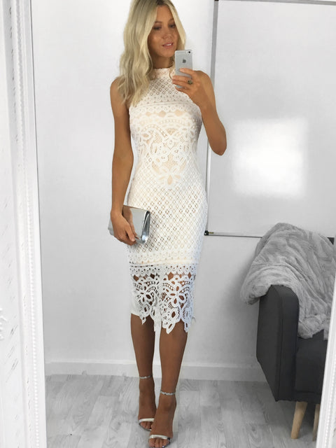 Clara Crochet Lace Overlay Midi Dress
