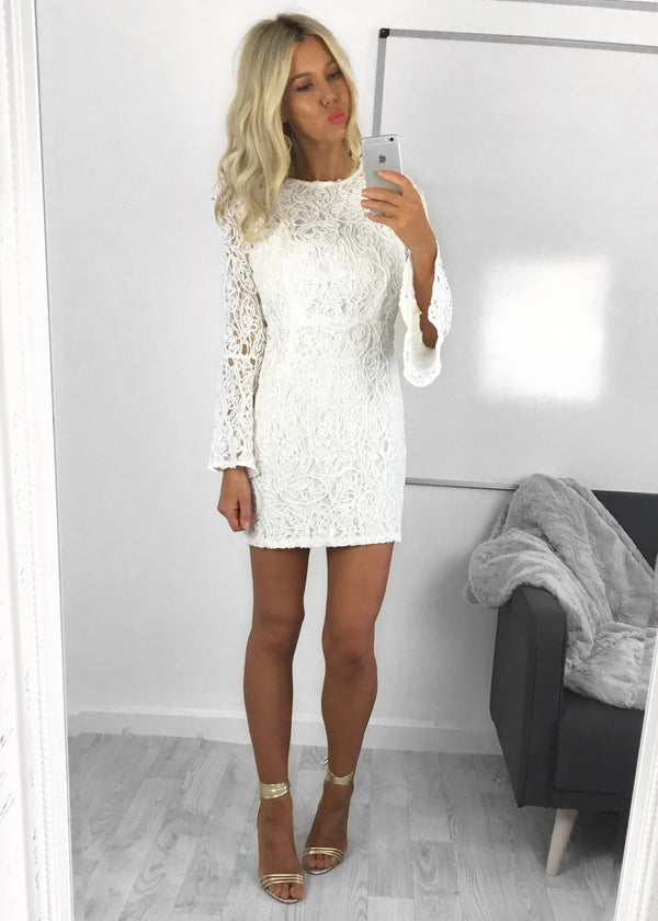 Arabella White Textured Lace Dress