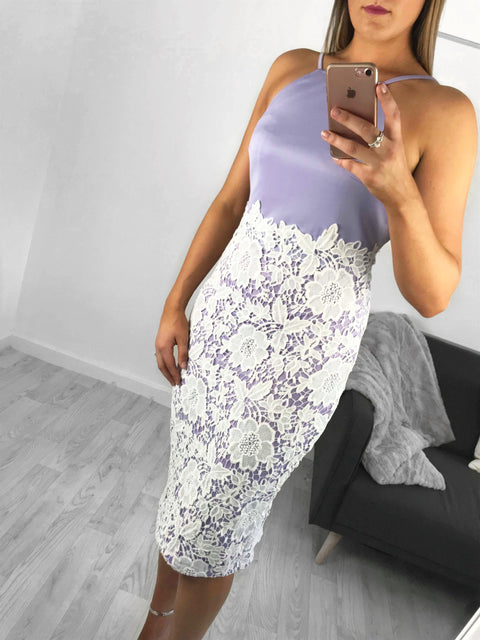 Millie Crochet Lace Midi Dress - Lilac