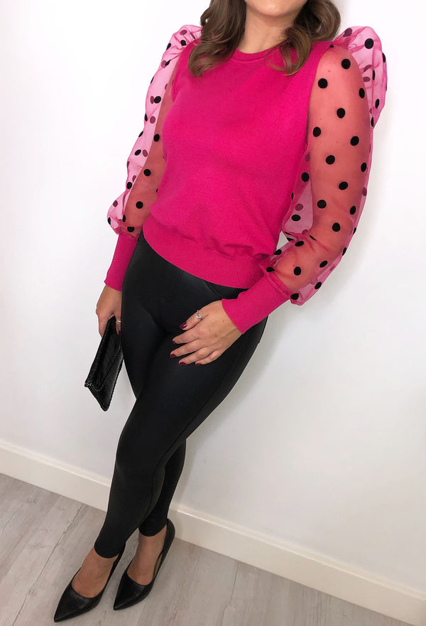 Polly Polka Dot Spot Top - Fuchsia Pink